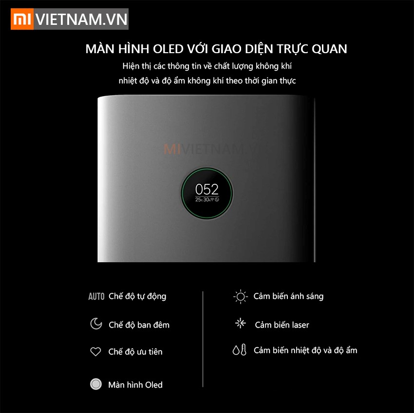 Màn hình oled với giao diện trực quan | Máy Lọc Không Khí Xiaomi Mi Air Purifier Pro