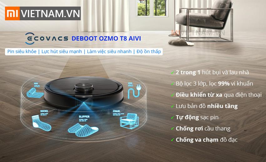 Robot Hút Bụi Lau Nhà Ecovacs Deboot OZMO T8 AIVI