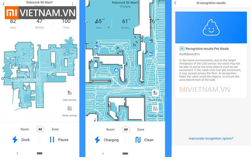 Robot Hút Bụi Lau Nhà Roborock S6 MaxV | kết nối app