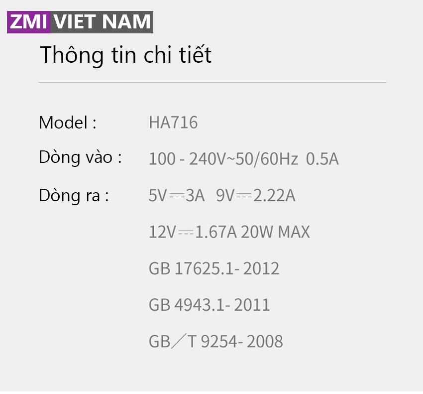Thông số chi tiết ha716