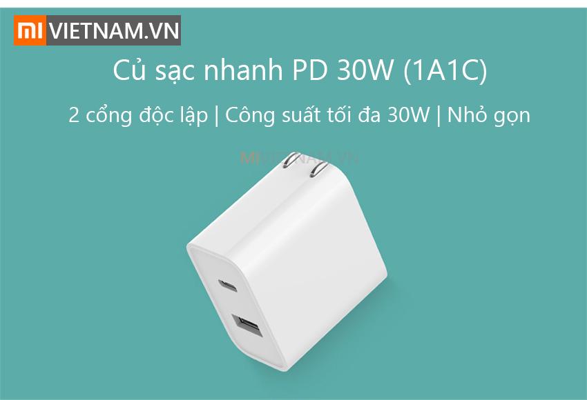 Củ Sạc Nhanh Xiaomi Type-C 1A1C